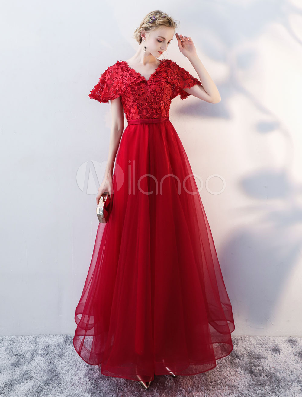 Buy Burgundy Prom Dresses Long Tulle Lace Short Sleeve Applique Floor Length Occasion Dress for $118.79 in Milanoo store