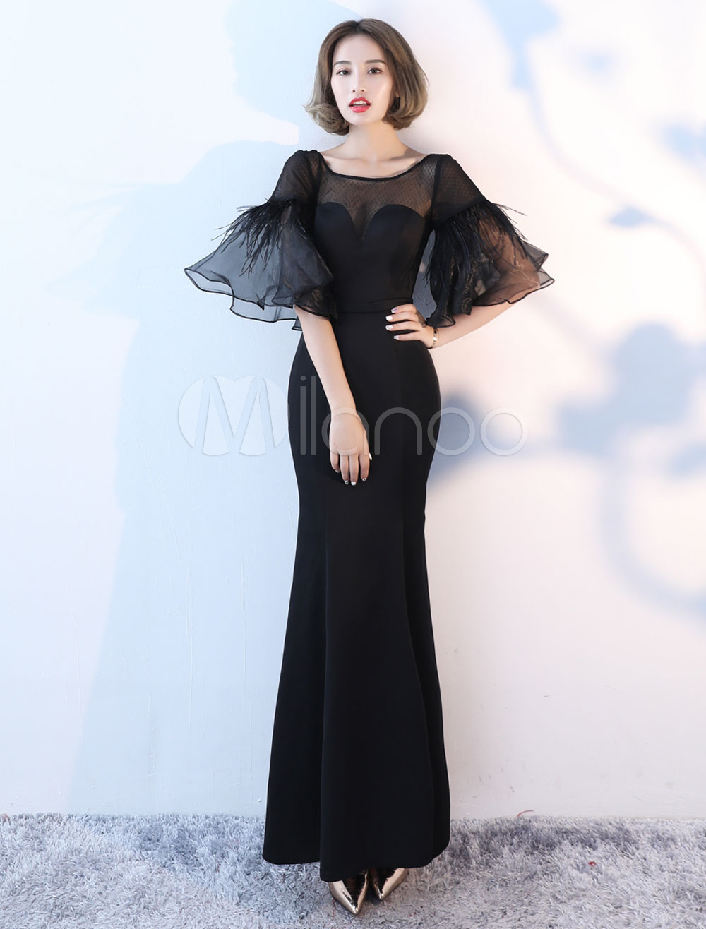 Black Evening Dresses Long Bell Sleeve Illusion Satin Mermaid Formal Dress