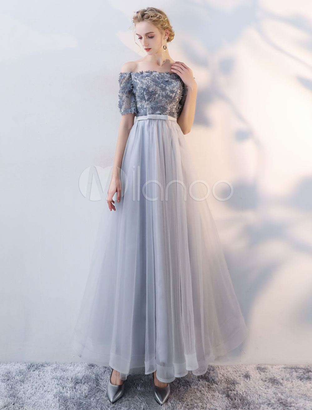 Buy Prom Dresses Long Grey Off The Shoulder Flowers Beaded Bow Sash Half Sleeve Floor Length Occasion Dress for $118.79 in Milanoo store