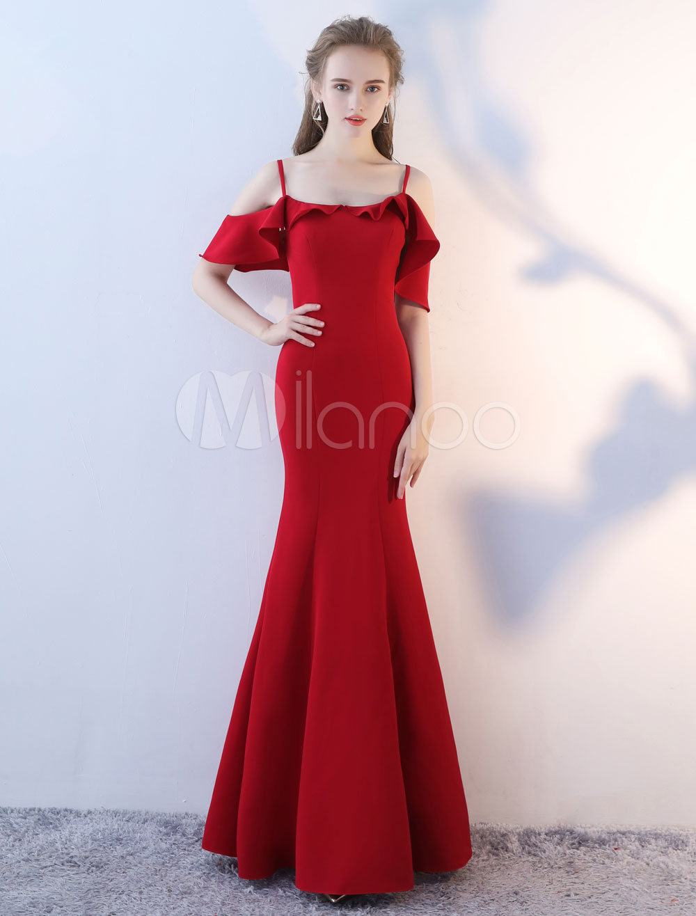 Prom Dresses Long Off The Shoulder Evening Dress Mermaid Ruffles Straps Burgundy Floor Length Formal Occasion Dress