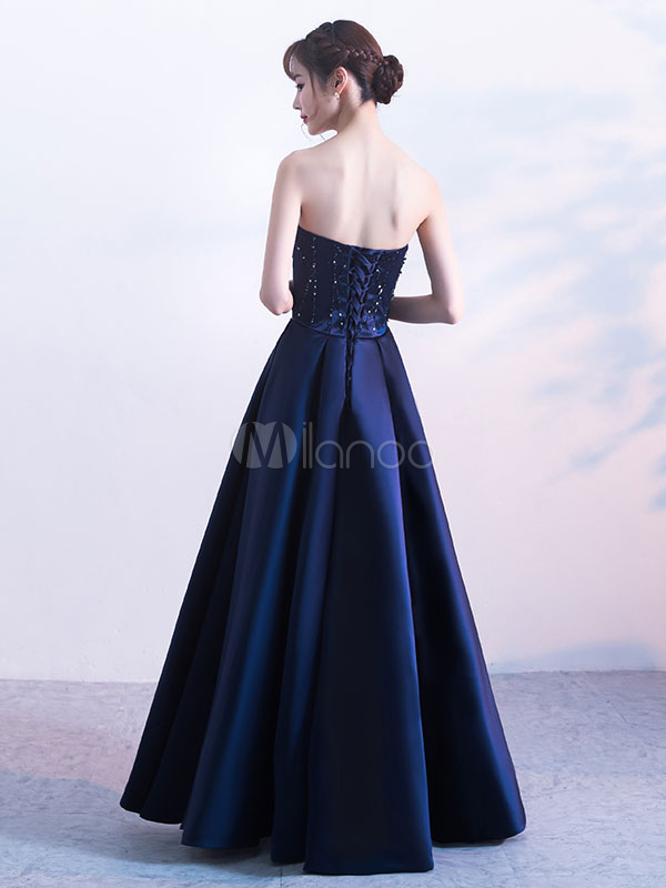 Ballkleider Lang Dark Navy Liebsten Abendkleid Satin