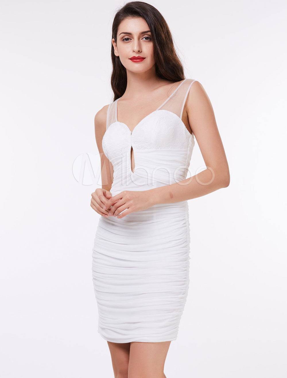 Buy Cocktail Dresses White Sheath Column Ruched Lace Cut Out Illusion Short Party Dress for $52.79 in Milanoo store