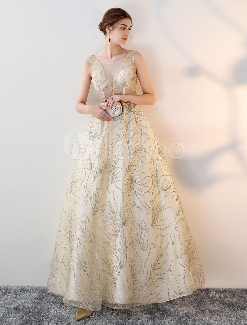 Buy Evening Dresses Light Gold Backless Glitter A Line Illusion Belt Floor Length Formal Occasion Dress for $127.59 in Milanoo store