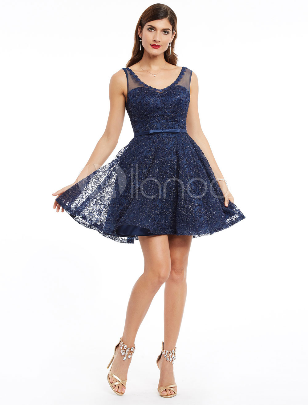 Homecoming Dress Short Dark Navy Cocktail Dress Lace V Neck Sleeveless Bow Sash Party Dresses