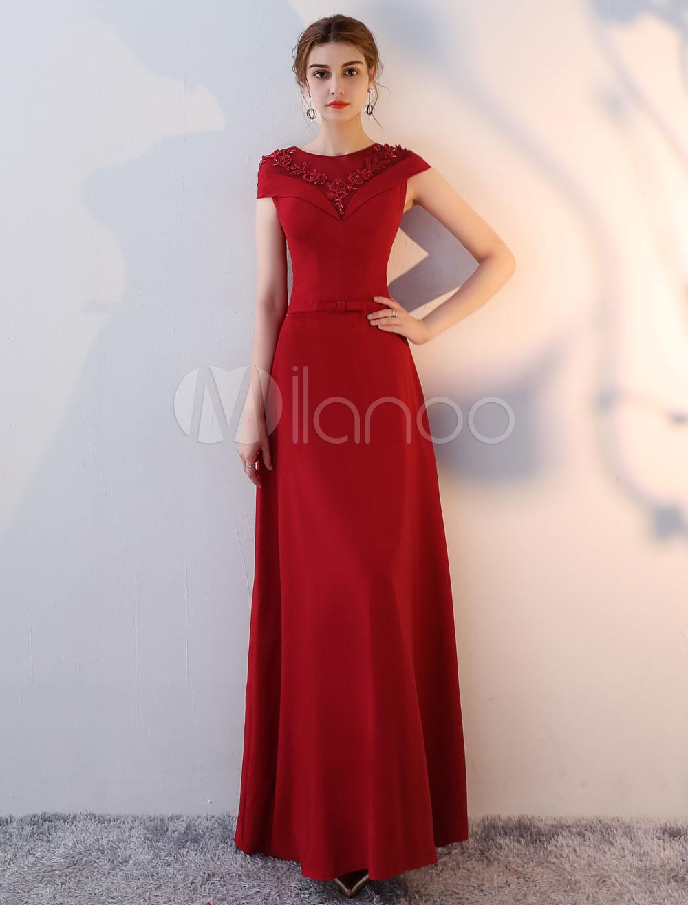 Burgundy Evening Dresses Satin Beading Applique Bow Sash Floor Length Formal Party Dress