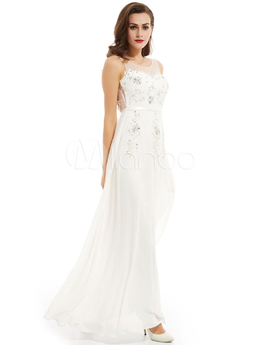 Buy Prom Dresses White Long Chiffon Lace Beading Floor Length Formal Party Dress for $79.19 in Milanoo store