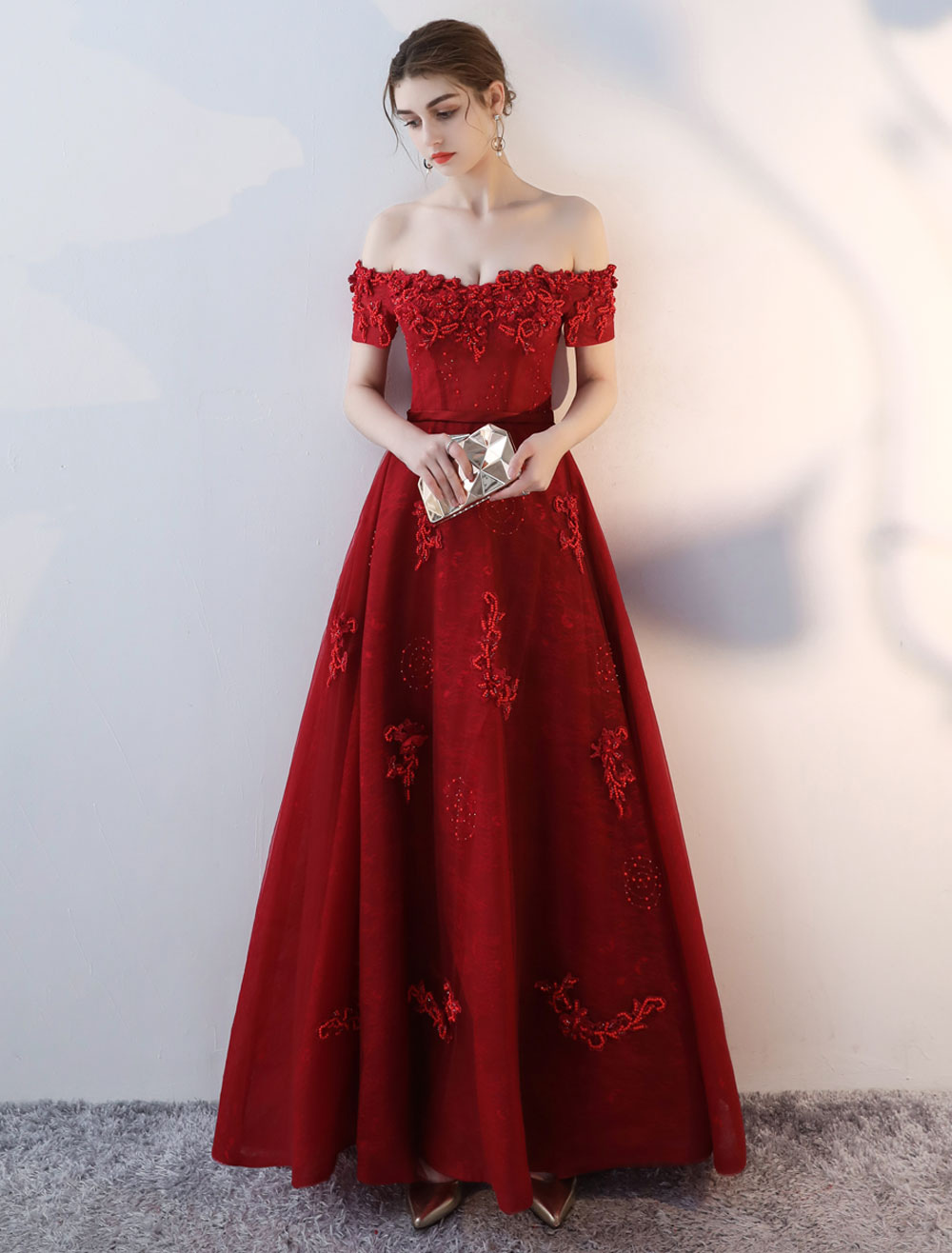 Buy Prom Dresses Long Burgundy Off The Shoulder Prom Dress Lace Applique Heavy Beading Sash Floor Length Formal Evening Dress for $175.99 in Milanoo store