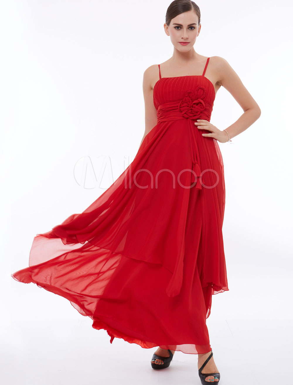 Red Prom Dresses Chiffon Straps Flowers Tassels Pleated Tiered Long Bridesmaid Dress