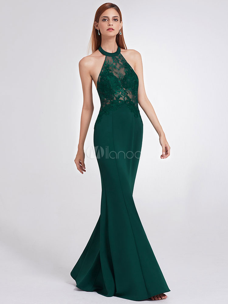 6b6a9d014b58f Prom Dresses Halter Lace Applique Formal Dress Illusion Backless Evening  Dress-No.1 ...