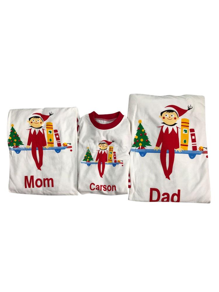 e9d99ffe9133e2 ... Pigiama di Natale per bambini, pantaloni bianchi da bambino con pigiama  mattutino unisex stampato a