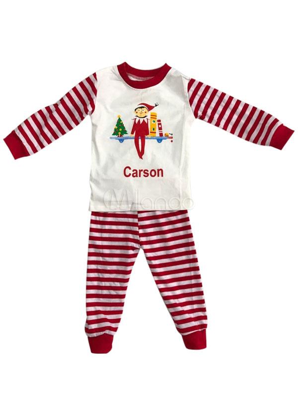 50ecc3ef8bbc8f ... Pigiama di Natale per bambini, pantaloni bianchi da bambino con pigiama  mattutino unisex stampato a ...