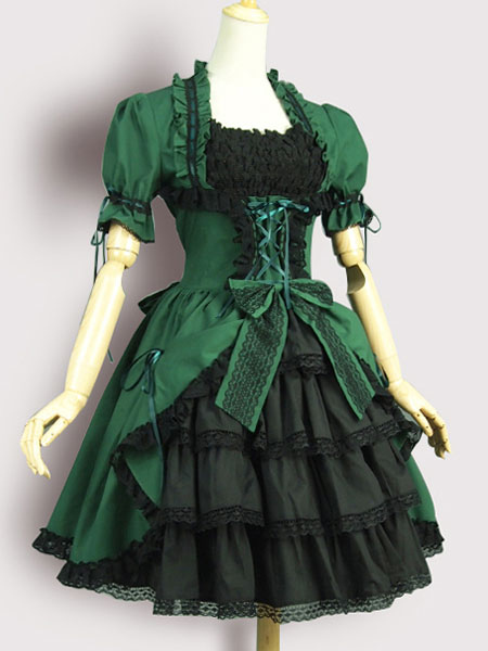 Buy Gothic Lolita OP One Piece Dress Square Neck Short Sleeve Lace Up Ruffles Green Lolita Dress for $96.29 in Milanoo store