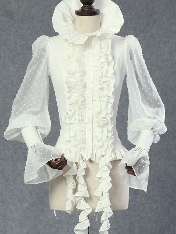 Gothic Lolita Blouse Chiffon Ruffles White Lolita Top