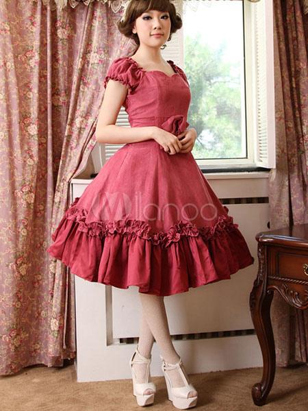 Buy Classic Lolita OP One Piece Dress Sweetheart Neck Short Sleeve Magenta Lolita Dress for $85.99 in Milanoo store