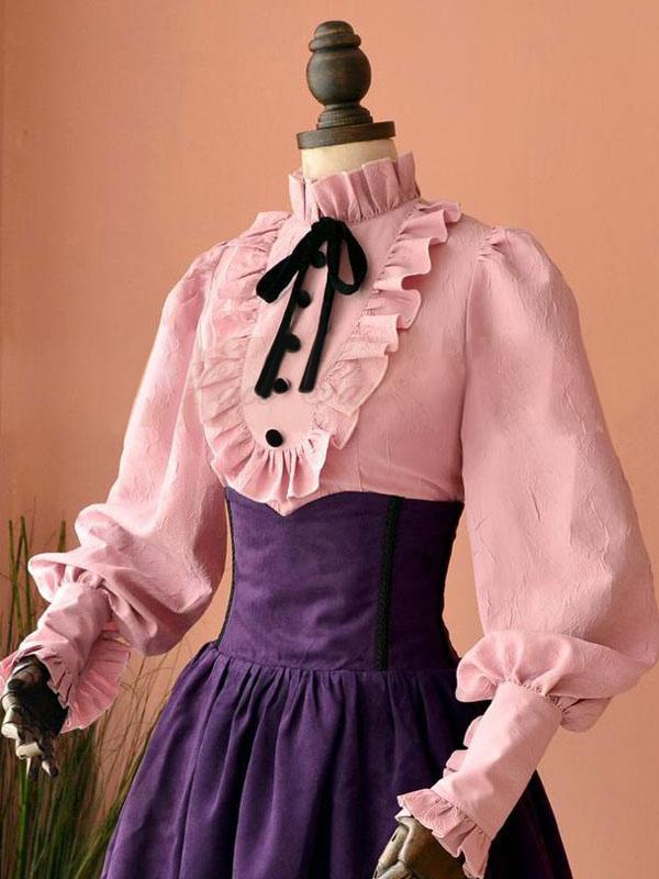 Rococo Lolita Blouse Puff Sleeve Stand Collar Ruffles Pink Lolita Top