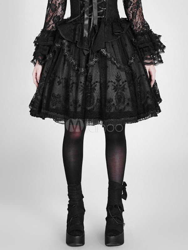 Buy Gothic Lolita SK Skirt Lace Ruffles Embroidered Black Lolita Bottoms for $165.99 in Milanoo store