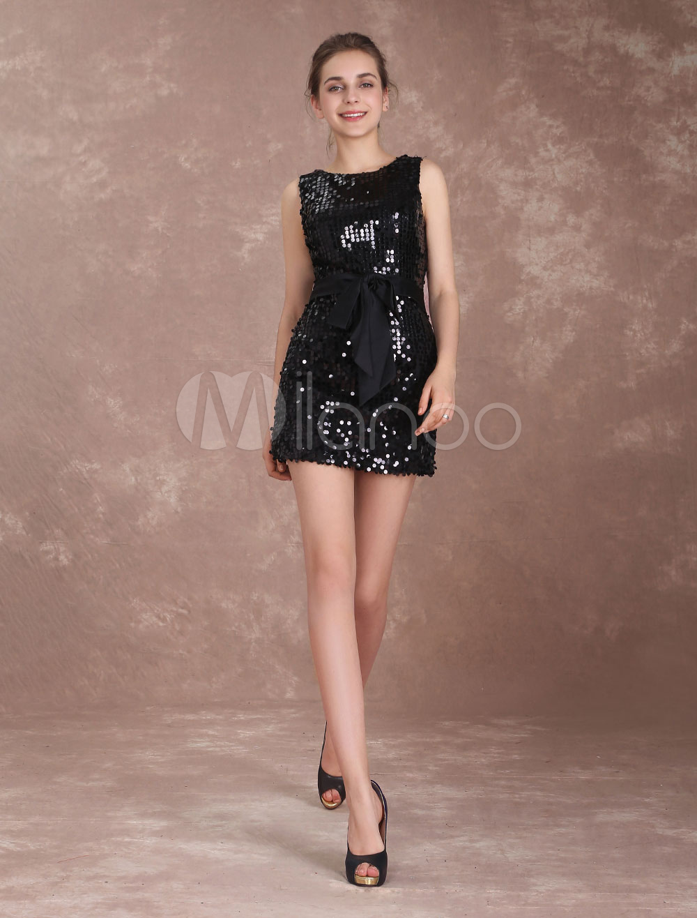Buy Sequin Cocktail Dresses Black Sheath Column Short Ribbon Sash Mini Party Dresses for $92.39 in Milanoo store