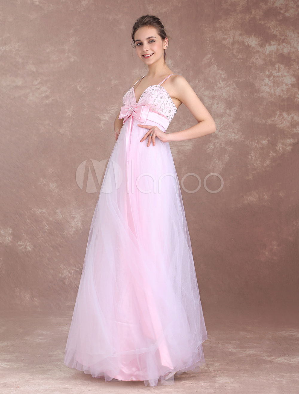 8aaaa96567b453 Prom Dresses Long Soft Pink Spaghetti Straps Empire Waist Backless Beading  Tulle Ribbon Bow Sash Floor Length Formal Party Dress