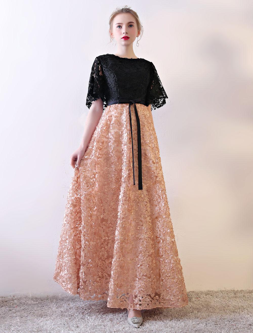 Black Prom Dresses Lace Contrast Color Half Sleeve Illusion Ribbon Sash Floor Length Occasion Dress
