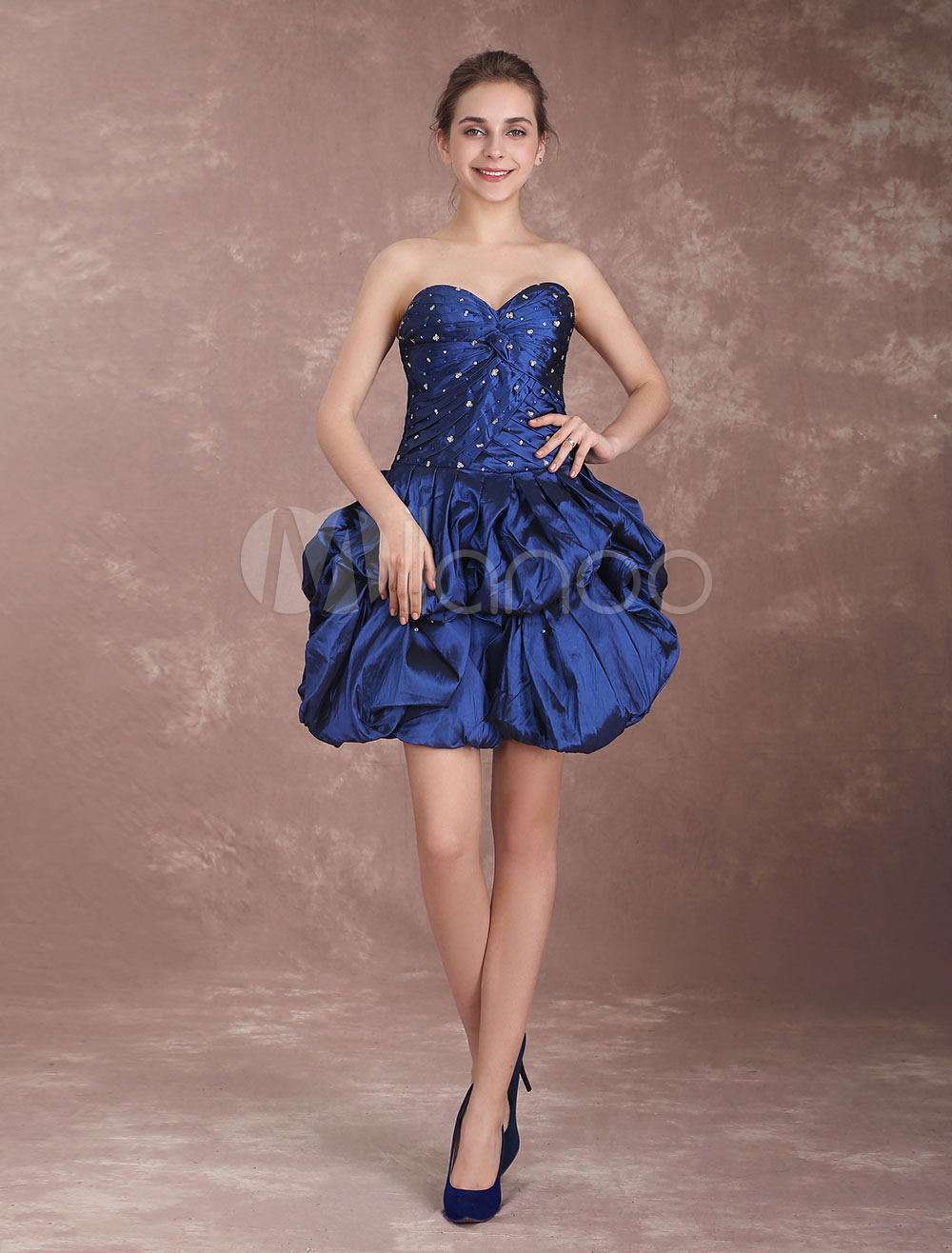 Buy Short Prom Dresses Taffeta Dark Navy Cocktail Dress Sweetheart Strapless Beading Pleated Twisted Mini Party Dresses for $153.99 in Milanoo store