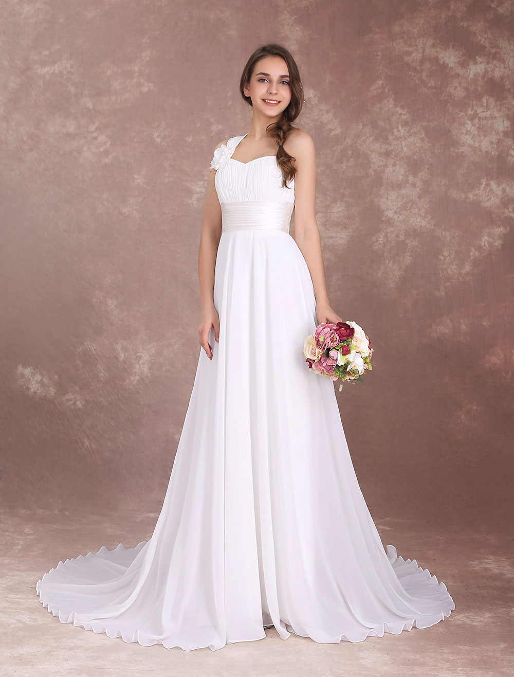 Buy Beach Wedding Dresses One Shoulder Boho Bridal Gown Pleated Chiffon Ivory Flowers Summer Wedding Gown With Train for $131.99 in Milanoo store