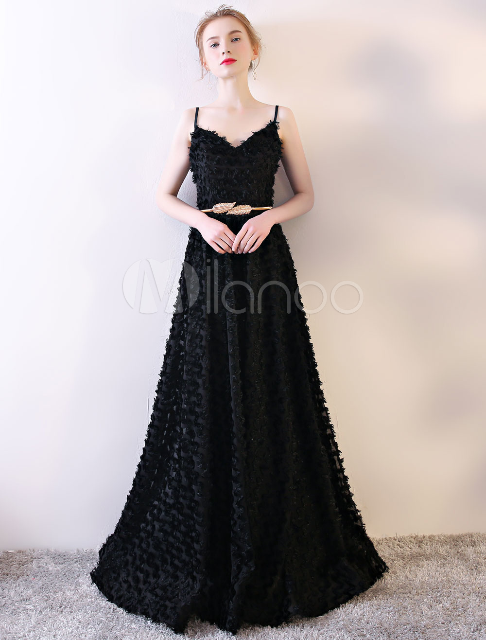 Buy Black Prom Dresses Spaghetti Straps Backless Prom Dress Long A Line Floor Length Formal Dress With Sash for $105.59 in Milanoo store