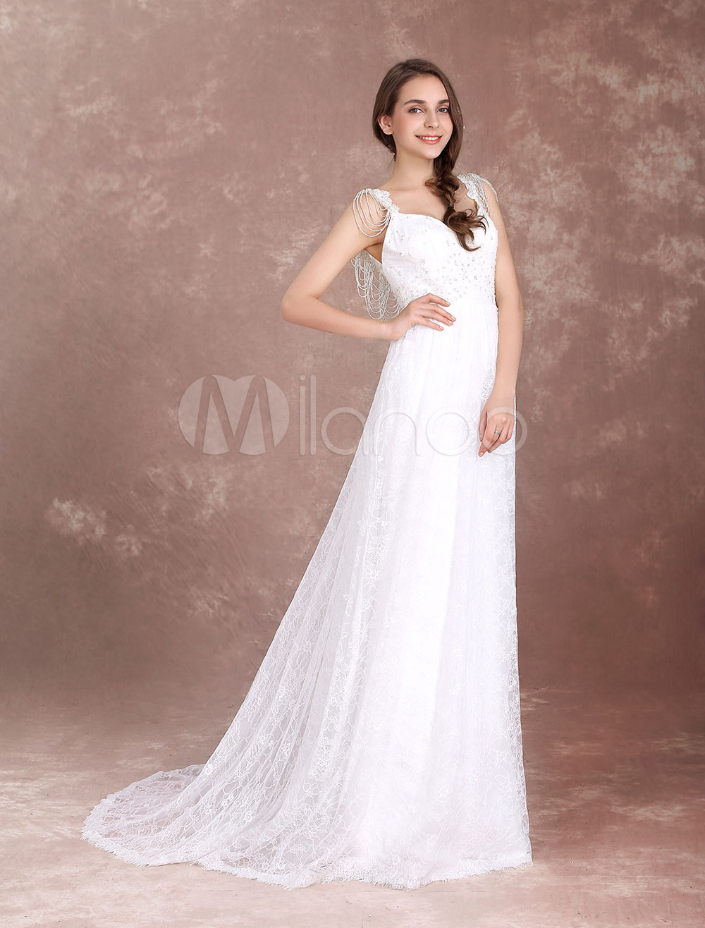 Buy Boho Wedding Dresses Lace Chains Tiered Beach Bridal Dress V Neck Backless Beading Bow Summer Wedding Gown With Train for $184.79 in Milanoo store
