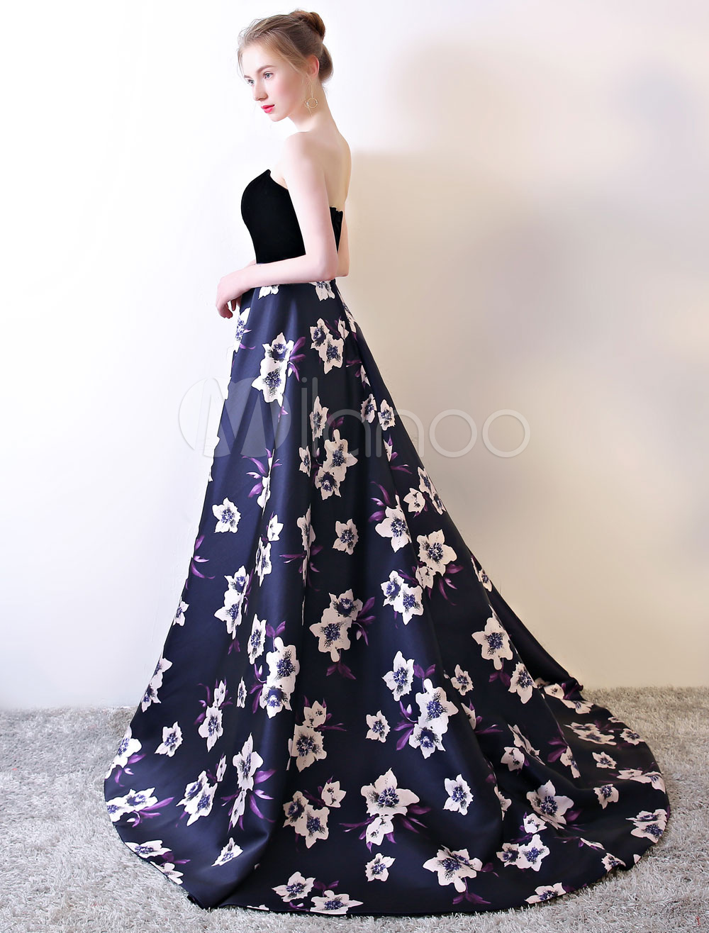 Buy Strapless Prom Dress Black Floral Print Prom Gown Velvet Satin Sweetheart Neckline Formal Occasion Dress With Train for $145.19 in Milanoo store
