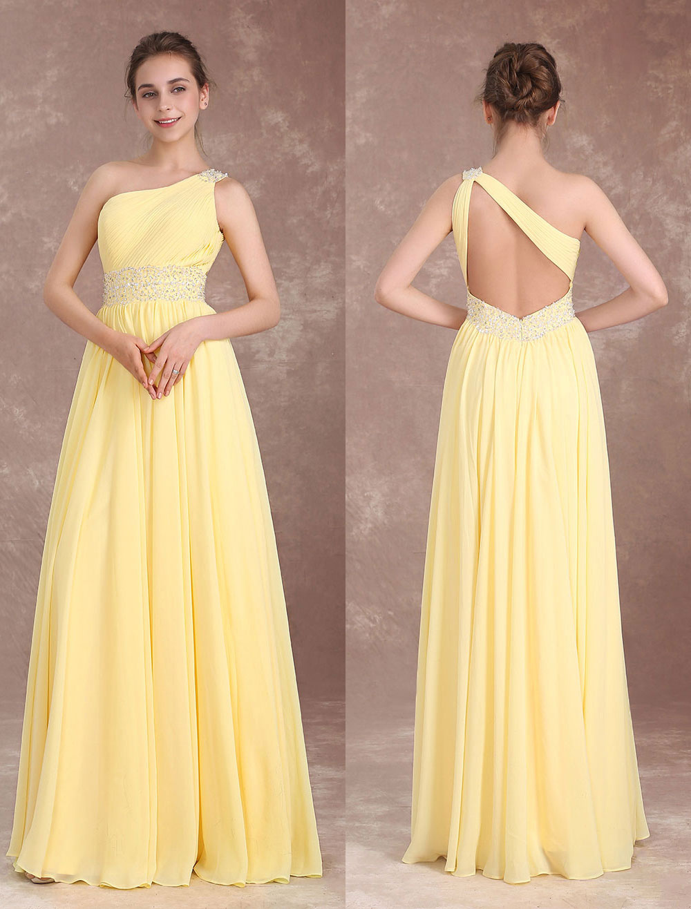 Long Bridesmaid Dresses Daffodil One Shoulder Prom Dress Chiffon Beading Back Design Floor Length Wedding Party Dress