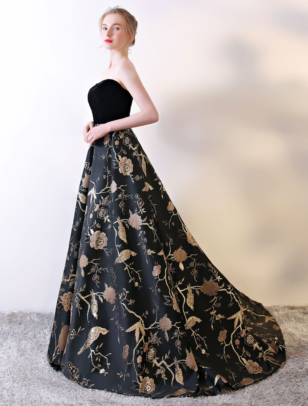 Buy Strapless Prom Dress Black Floral Embroidered Prom Gown Velvet Satin Sweetheart Neckline Formal Occasion Dress With Train for $171.59 in Milanoo store
