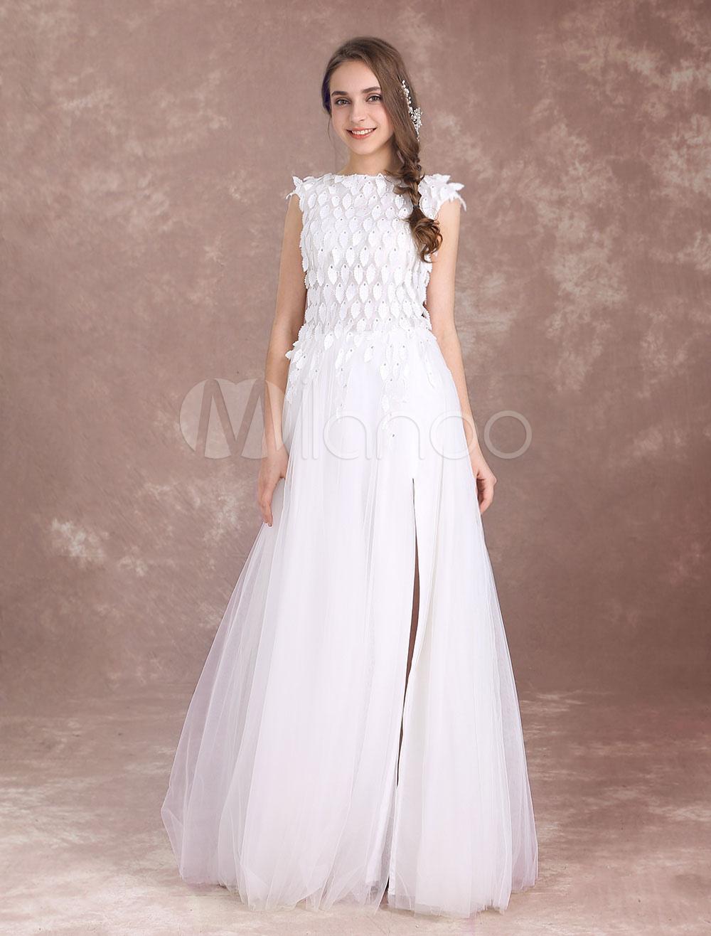 Beach Wedding Dresses High Split Boho Bridal Gown Bateau Leaf Beaded Ivory Floor Length Summer Bridal Dress