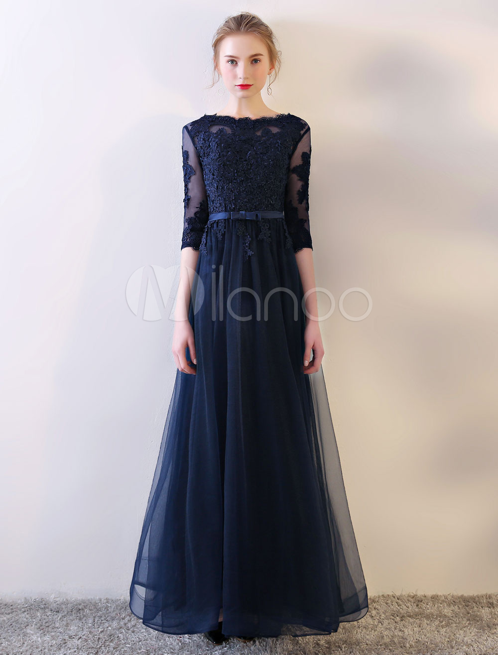 Buy Long Prom Dresses Dark Navy Evening Dress Half Sleeve Bow Sash Illusion Bateau Lace Tulle Floor Length Formal Dress for $96.79 in Milanoo store