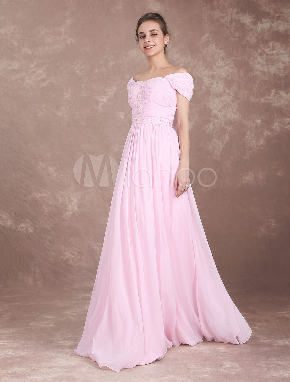 Bridesmaid Dress Soft Pink Chiffon Long Prom Dresses Off The Shoulder Beaded Pleated Floor Length Wedding Party Dresses