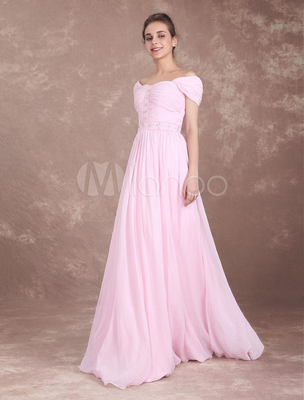 3286ca31ec55 Bridesmaid Dress Soft Pink Chiffon Long Prom Dresses Off The ...