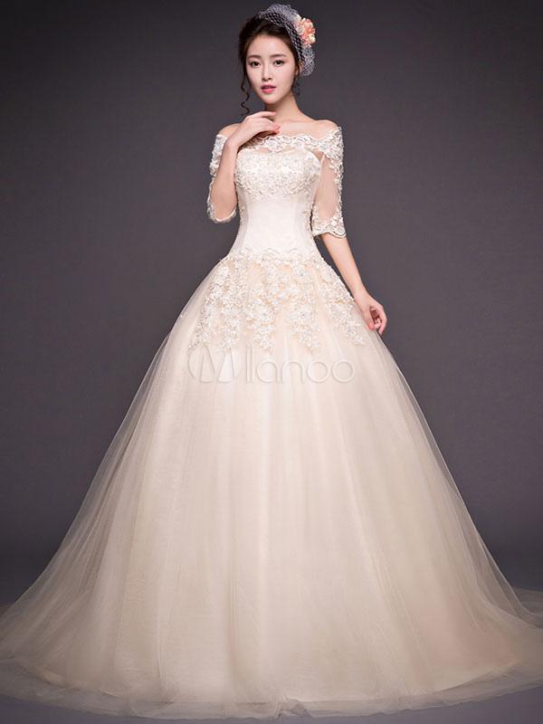 robe de mari e bon march col bateau avec perles demi On concepteurs de robes de mariée bon marché