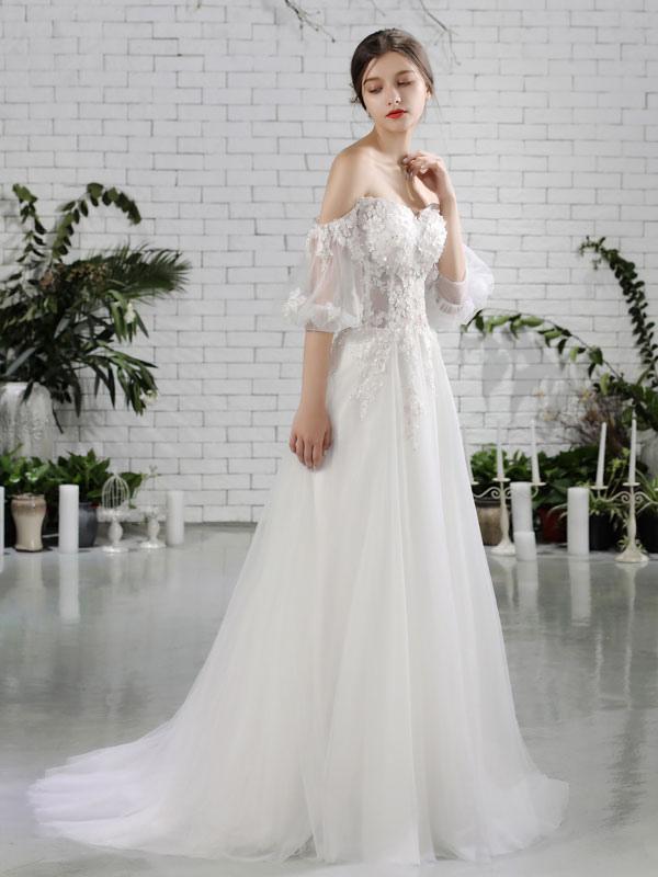 Beach Bridal Dress Ivory Off Shoulder Wedding Gowns Half Sleeve Flowers Beaded Sweetheart Neckline Maxi Wedding Dress For Summer