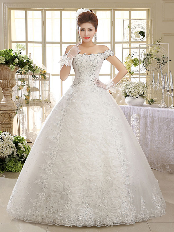 Vestidos de novia de encaje fuera del hombro Vestido de novia ...