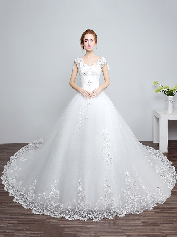 Buy Princess Wedding Dresses Ivory Backless Bridal Dress Lace Applique V Neck Long Train Wedding Gown for $122.49 in Milanoo store