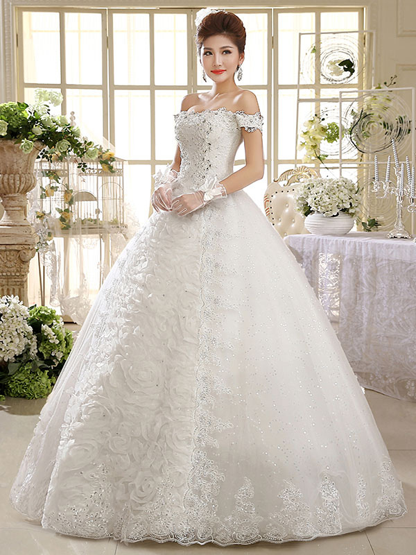 Buy Lace Bridal Dresses Off The Shoulder Wedding Dress Princess Ball Gowns Beaded Flowers Floor Length Ivory Wedding Gown for $87.49 in Milanoo store