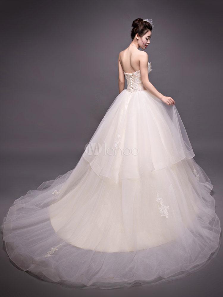 e756284188c ... princesse robe de mariée église jardin Avec traîne bustier sans  bretelles lacets de dentelle en tulle ...