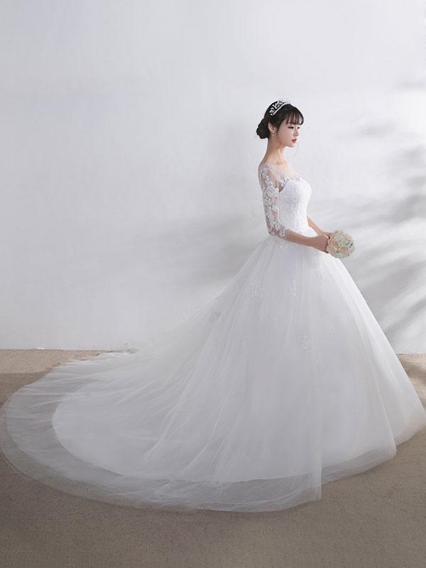 Ivory Wedding Dress Lace Applique Illusion Sweetheart Backless Half Sleeve A Line Chapel Train Bridal Dress