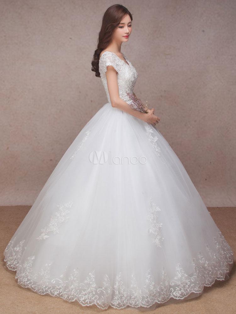 Lace Bridal Dress Princess Ball Gown Wedding Dress V Neck Short ...