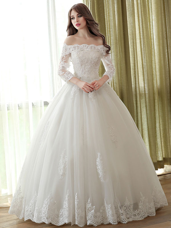 Lace Wedding Dress Princess Ball Gowns Off The Shoulder Ivory Bridal Dress Applique Beaded Half Sleeve Floor Length Wedding Gown