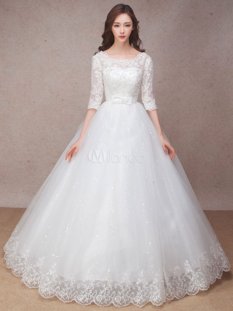 Lace Wedding Dress Princess Ball Gown Bridal Dress Half Sleeve ...