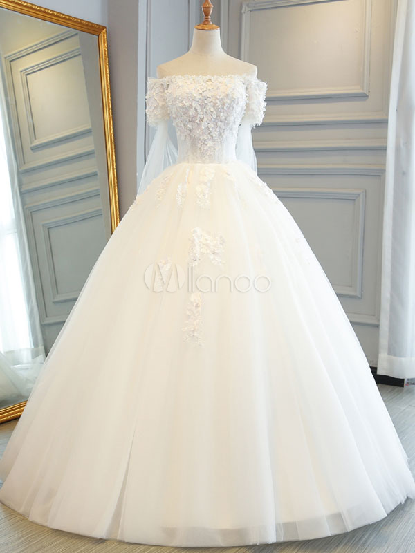 Buy Princess Wedding Dresses Off The Shoulder Ball Gowns Lace Flowers Applique Beaded Tulle Ivory Bridal Dress for $153.99 in Milanoo store