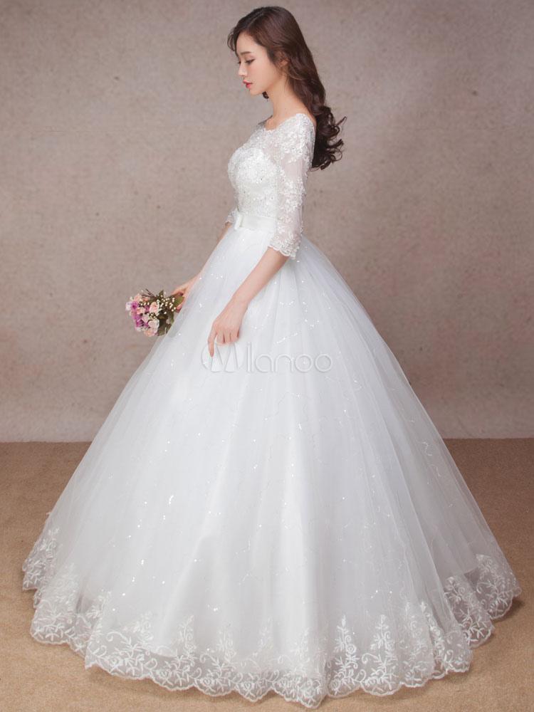 Lace Wedding Dress Princess Ball Gown Bridal Dress Half Sleeve ...