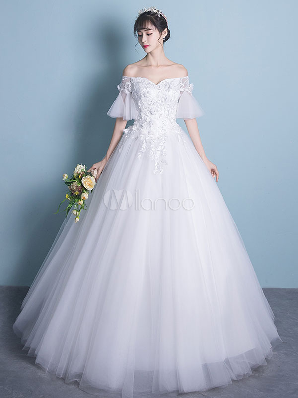 Buy Wedding Dress Princess Ball Gown Bridal Dress Off The Shoulder Flowers Lace Applique Ivory Half Sleeve Beaded Floor Length Wedding Gown for $131.99 in Milanoo store