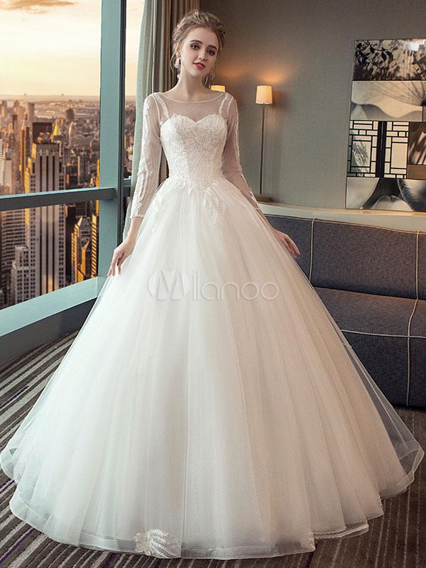 vestido de novia princesa hasta el suelo con escote redondo con 3/4