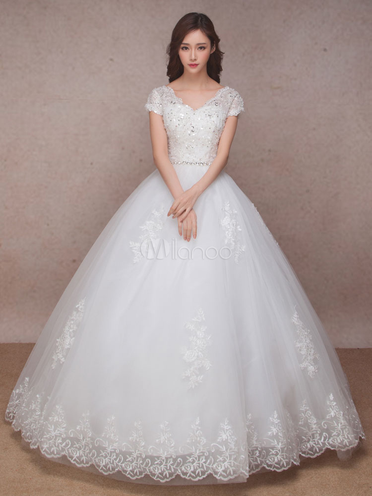 Lace Bridal Dress Princess Ball Gown Wedding V Neck Short Sleeve Lique Beaded Backless Floor