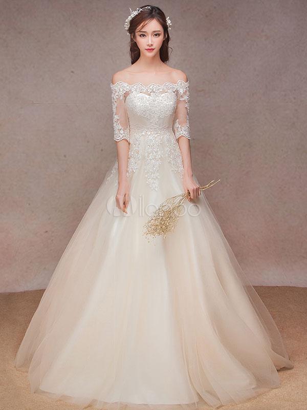 vestido de novia barato de línea a con escote barco hasta el suelo